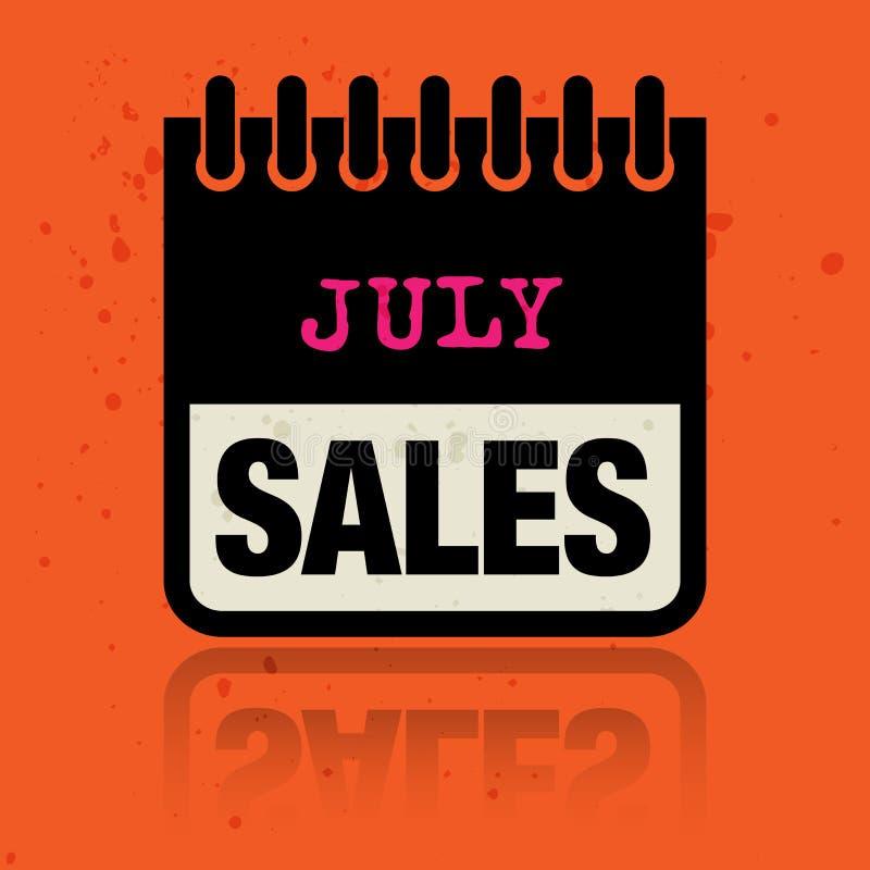 Calendar ярлык при продажи в июле слов написанные внутрь иллюстрация штока