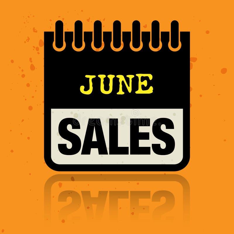 Calendar ярлык при продажи в июне слов написанные внутрь иллюстрация штока