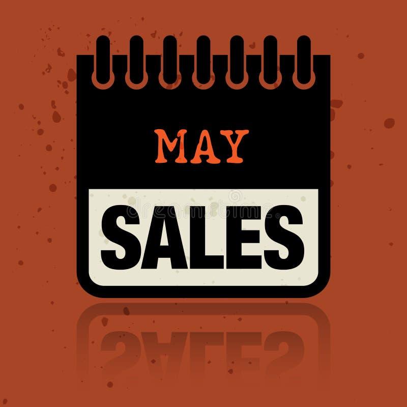 Calendar ярлык при продажи в мае слов написанные внутрь бесплатная иллюстрация