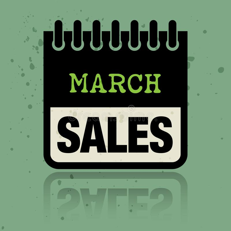 Calendar ярлык при продажи в марте слов написанные внутрь иллюстрация штока