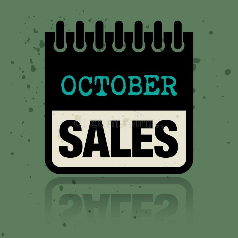 Calendar ярлык при продажи в октябре слов написанные внутрь иллюстрация штока
