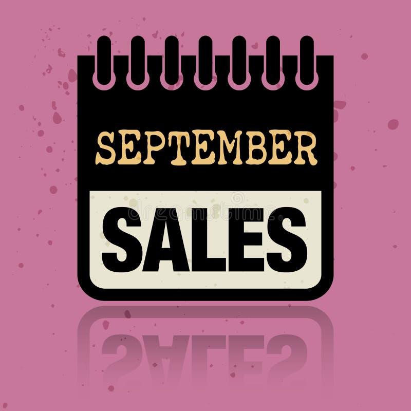 Calendar ярлык при продажи в сентябре слов написанные внутрь иллюстрация вектора