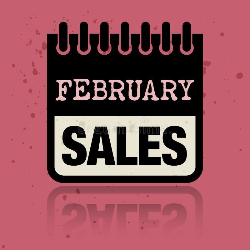 Calendar ярлык при продажи в феврале слов написанные внутрь иллюстрация штока
