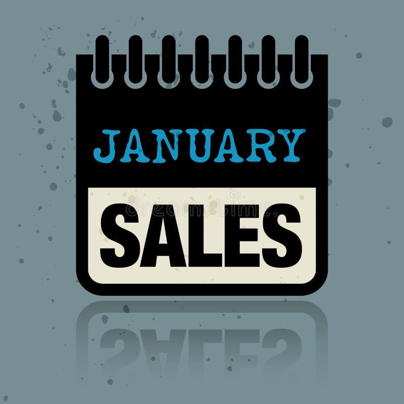 Calendar ярлык при продажи в январе слов написанные внутрь иллюстрация штока