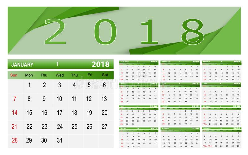 Calendar-2018 stock illustrationer