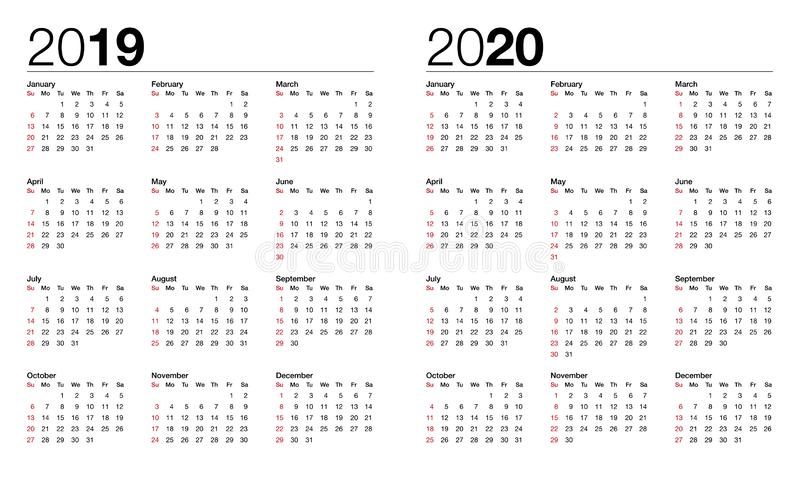 Calendar for 2019 and 2020 vector vector illustration