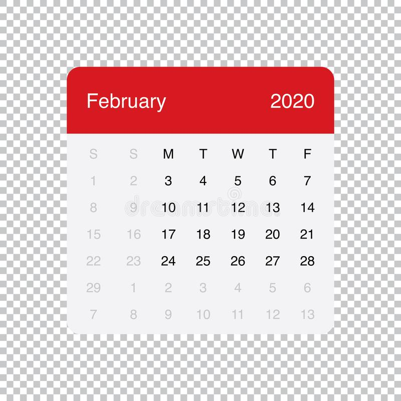 Calendar February 2020 Clean Minimal Table Simple Design. Week Starts on Monday. royalty free illustration