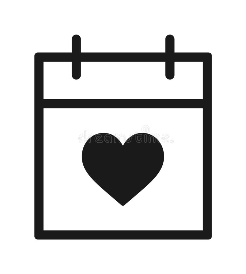 Calendar with heart icon royalty free illustration
