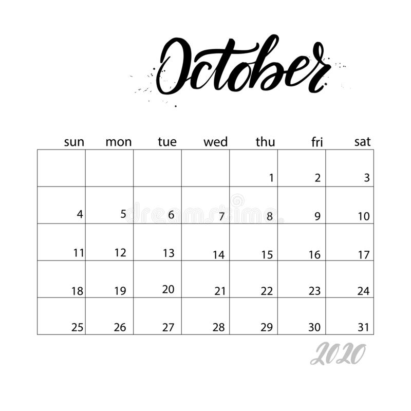 Monthly calendar for 2020 year. October. Monthly calendar for 2020 year. Handwritten modern calligraphy headlines. Elegant and stylish. Week starts on Sunday vector illustration