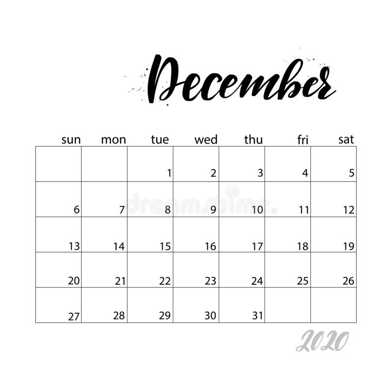 Calendar Week starts on Sunday. December. Monthly calendar for 2020 year. Handwritten modern calligraphy headlines. Elegant and stylish. Week starts on Sunday royalty free illustration