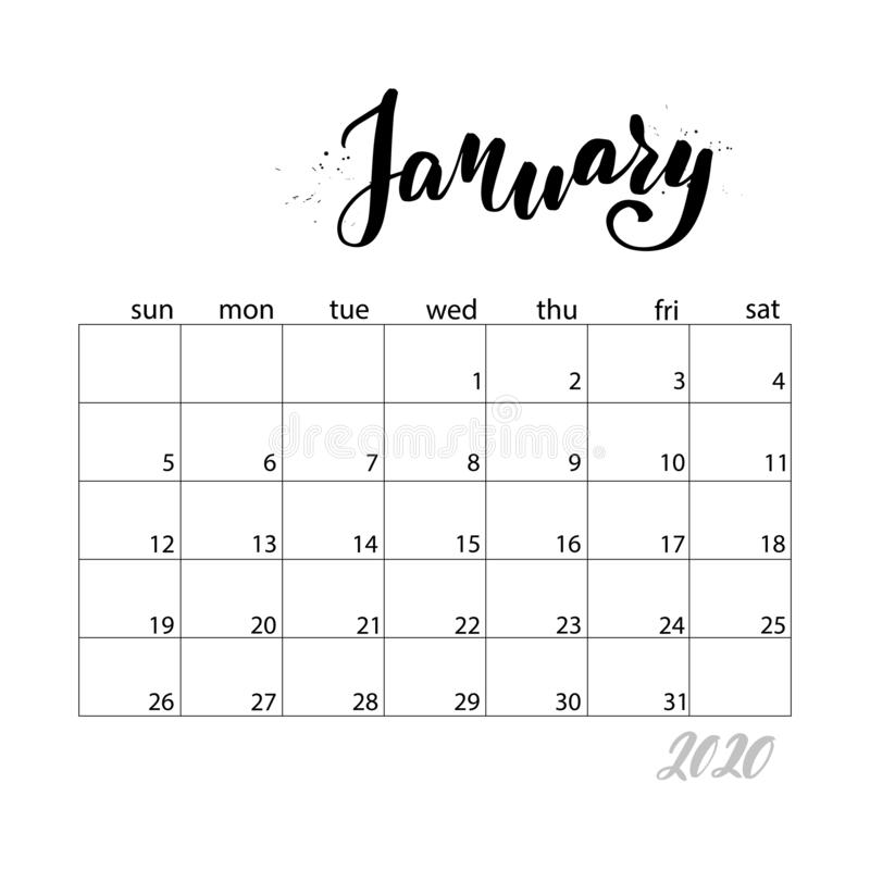 Monthly calendar for 2020 year. January. Monthly calendar for 2020 year. Handwritten modern calligraphy headlines. Elegant and stylish. Week starts on Sunday vector illustration