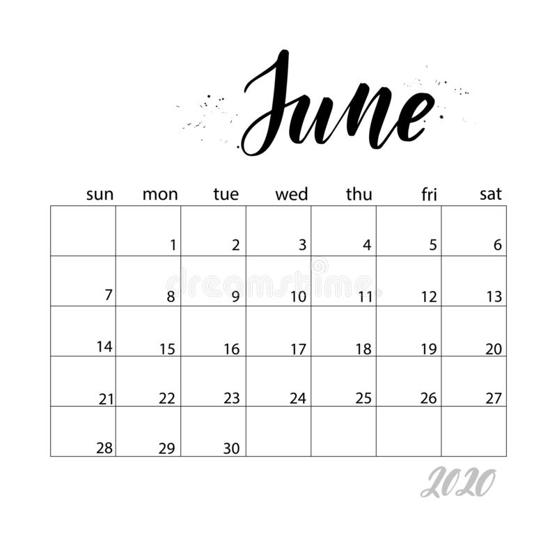 June. Monthly calendar for 2020 year. Handwritten modern calligraphy headlines. Elegant and stylish. Week starts on Sunday. Perfect for planners, calendars vector illustration