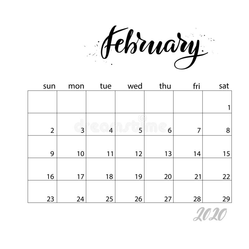 February. Monthly calendar for 2020 year. Handwritten modern calligraphy headlines. Elegant and stylish. Week starts on Sunday. Perfect for planners, calendars vector illustration