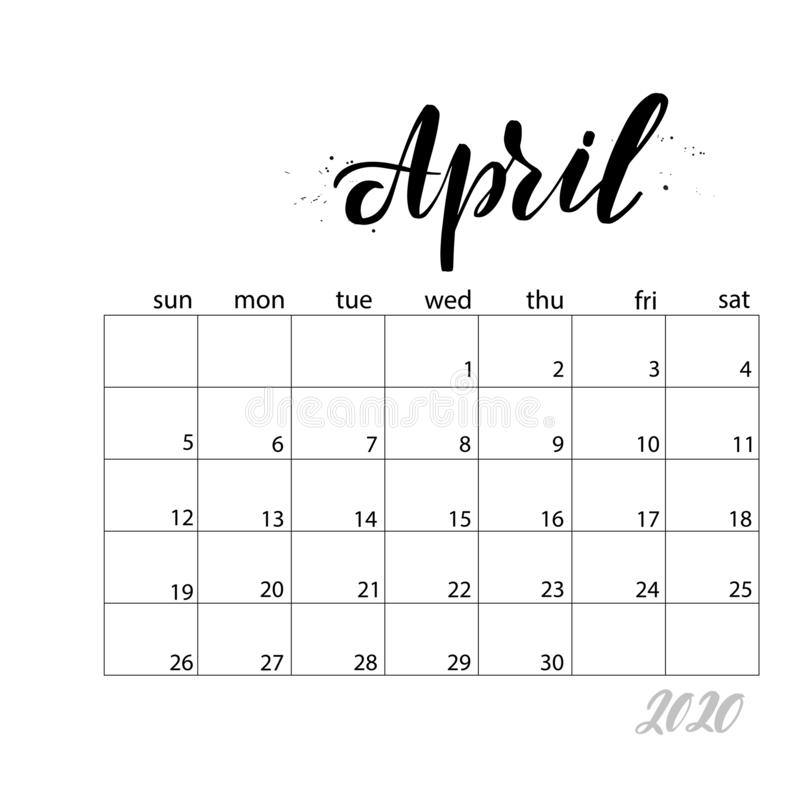 April. Monthly calendar for 2020 year. Handwritten modern calligraphy headlines. Elegant and stylish. Week starts on Sunday. Perfect for planners, calendars stock illustration