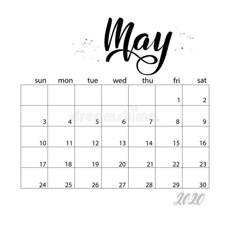 May. Monthly calendar for 2020 year. Handwritten modern calligraphy headlines. Elegant and stylish. Week starts on Sunday. Perfect for planners, calendars vector illustration