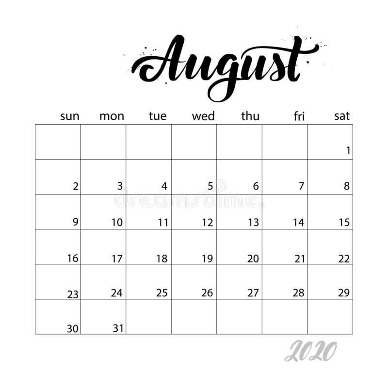 August. Monthly calendar for 2020 year. Handwritten modern calligraphy headlines. Elegant and stylish. Week starts on Sunday. Perfect for planners, calendars vector illustration