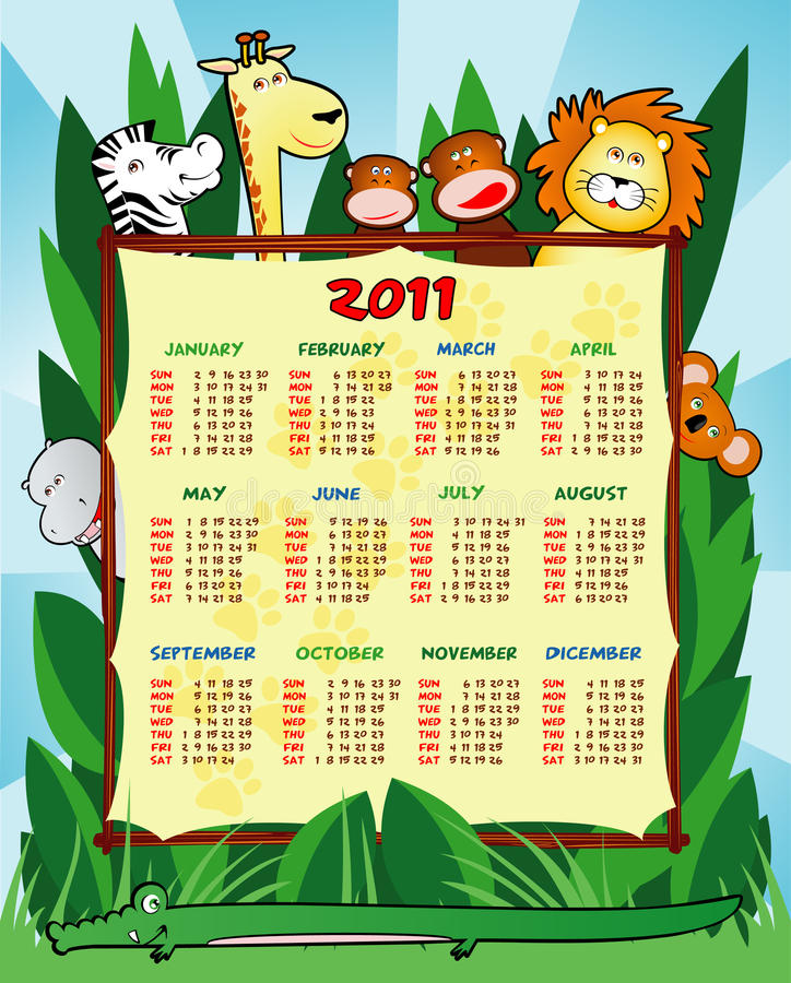 Calendar. Year two thousand and eleven with funny jungle animals stock illustration