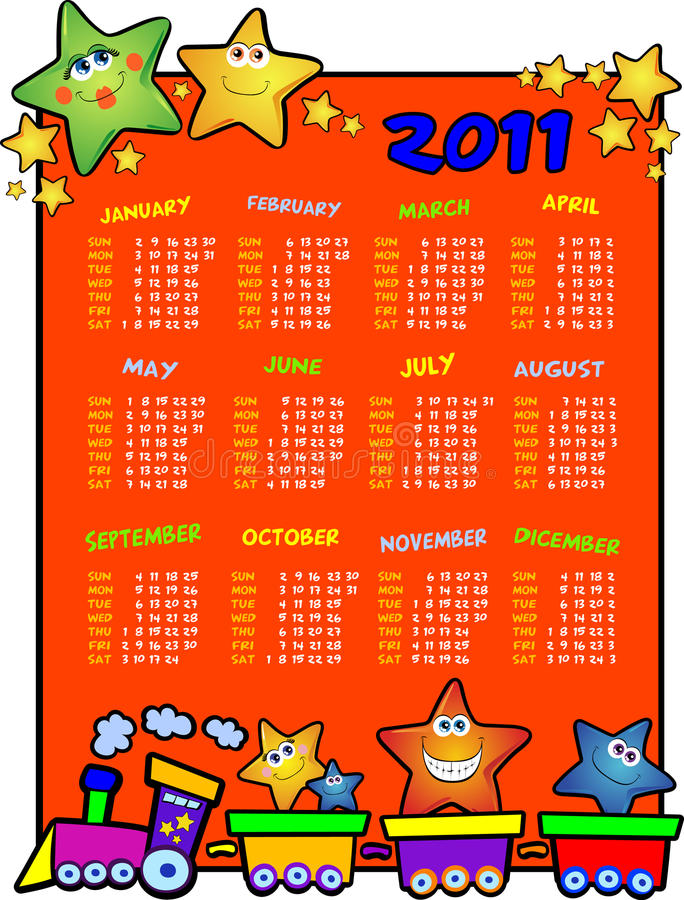 Calendar. For the year two thousand and eleven with small train load of stars stock illustration