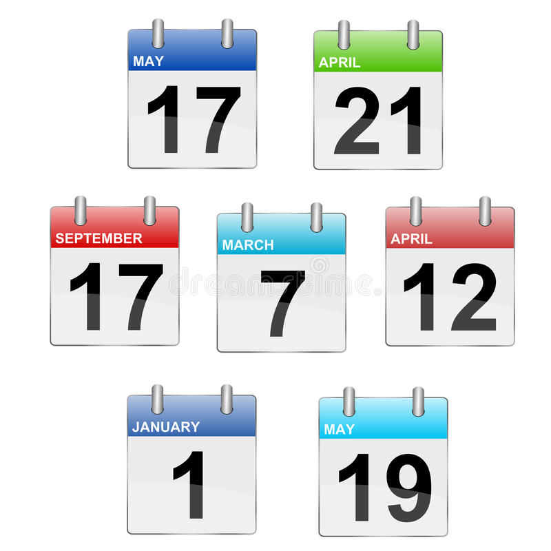 Calendar. Illustration of calendars in different colors. Calendar icons stock illustration
