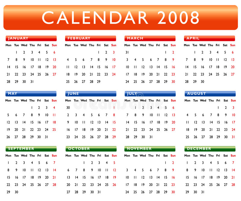 Calendar 2008. Colorful Calendar for year 2008 vector illustration