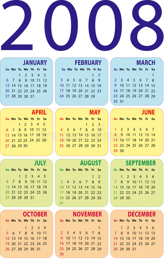 Calendar 2008. Vertical design. The additional format file (EPS royalty free illustration