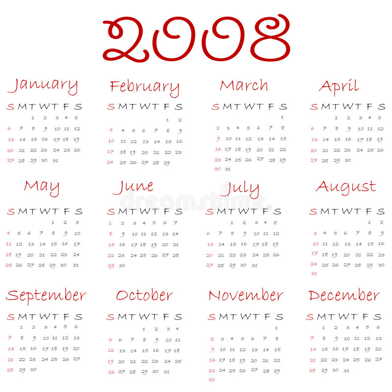 Calendar 2008. (white end red vector illustration