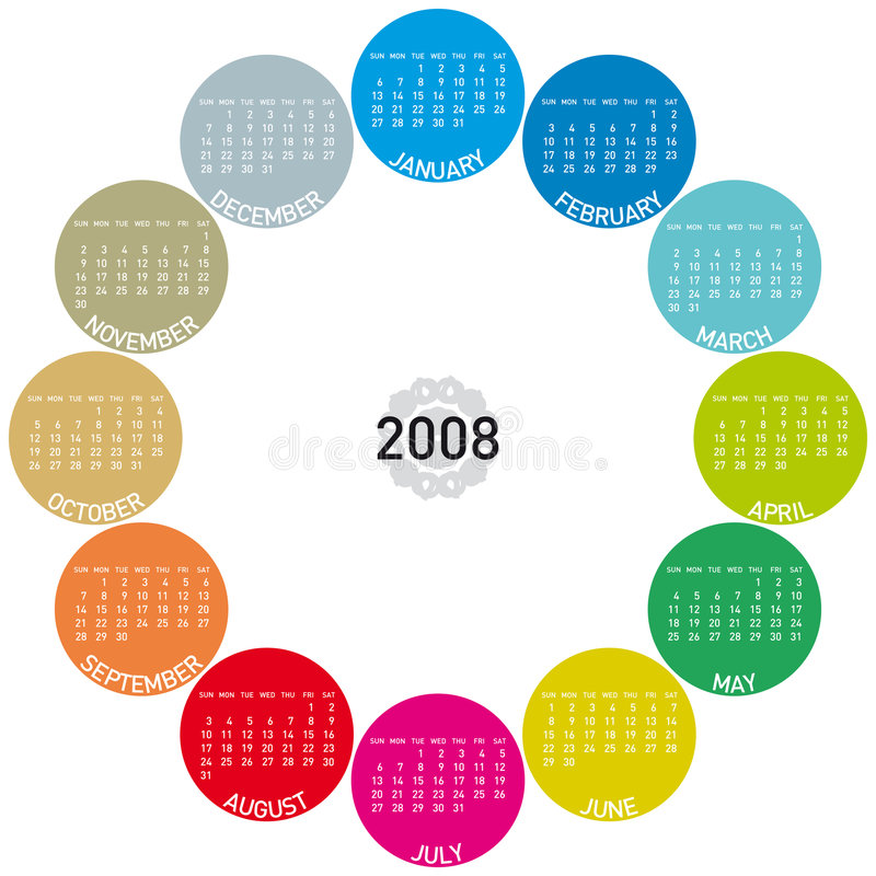 Calendar 2008. Colorful Calendar for 2008. with a circles design vector illustration
