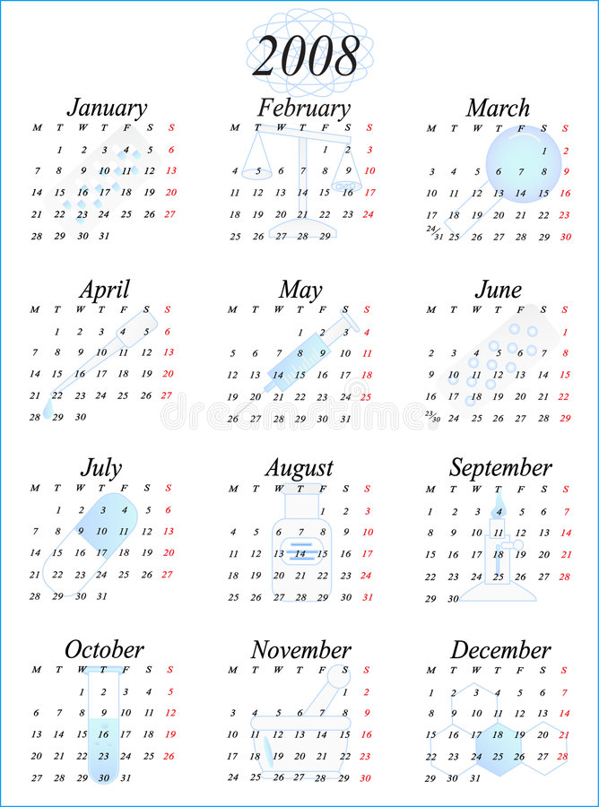 Calendar 2008. Illustration of calendar for 2008. year vector illustration