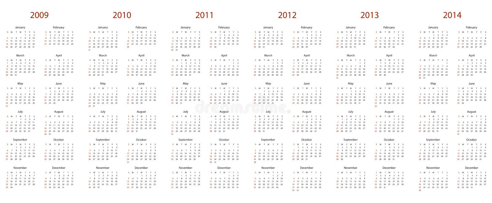 Calendar for 2009, 2010, 2011, 2012, 2013 and 2014 vector illustration