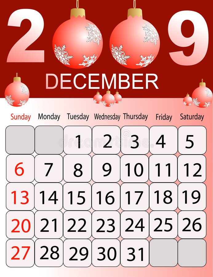 Download Calendar 2009 stock vector. Image of calendar, season - 6473455
