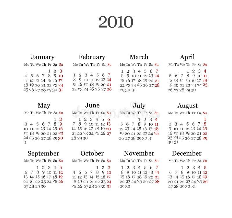 Calendar 2010 stock illustration