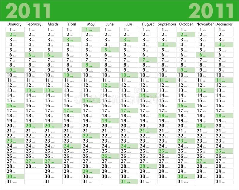 Calendar_2011 royalty-vrije illustratie