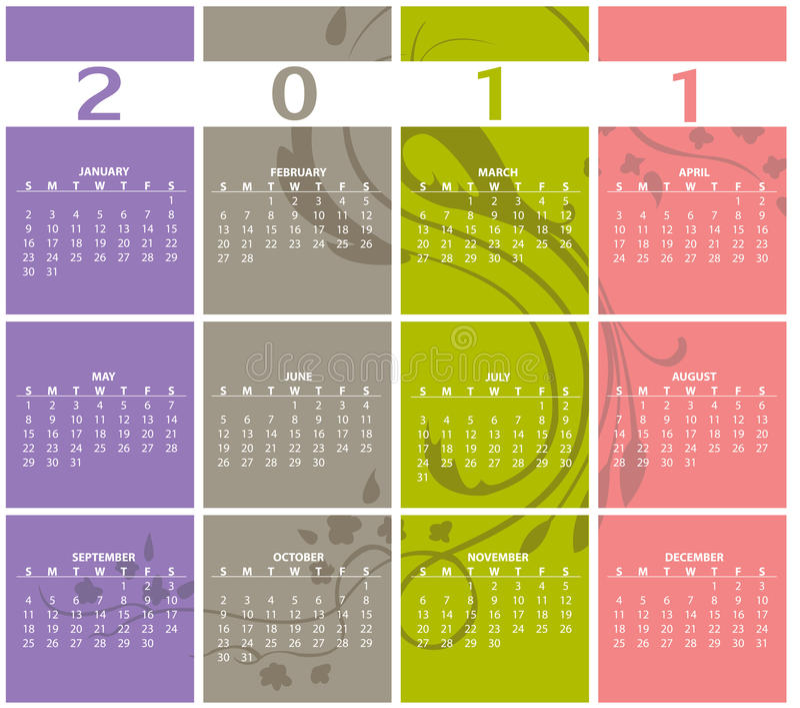 Calendar for 2011. Vector Illustration of style design Colorful Calendar for 2011 vector illustration