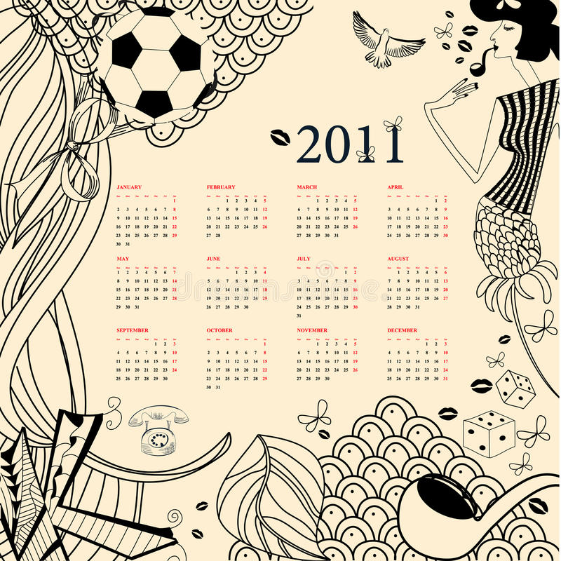Download Calendar 2011 stock vector. Image of love, retro, bird - 17356311