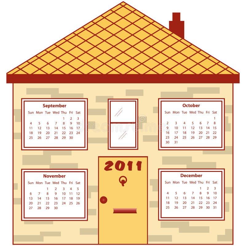 Calendar 2011 em uma casa alaranjada ilustração stock