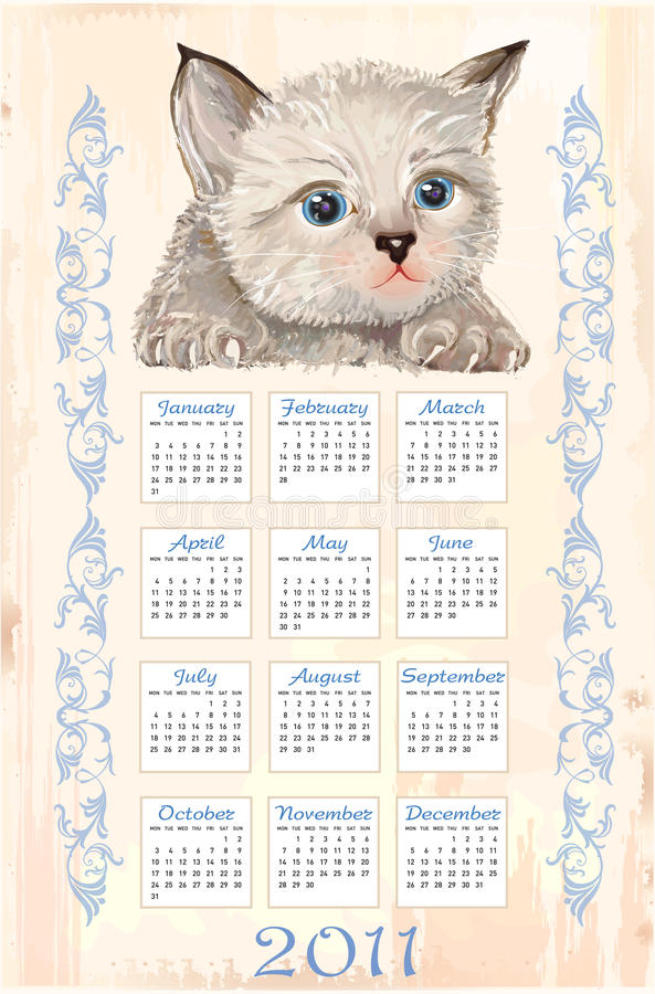 Download Calendar 2011 With Fluffy Kitten Stock Vector - Image: 17085028