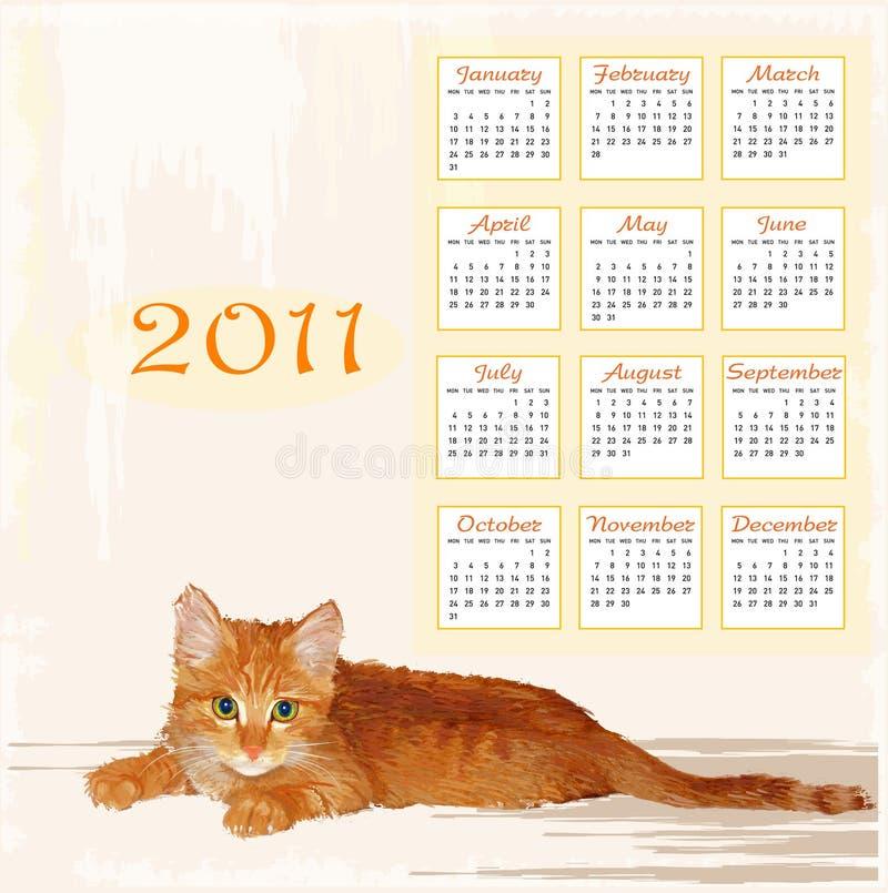 Calendar 2011 With Lying Ginger Kitten Stock Photos