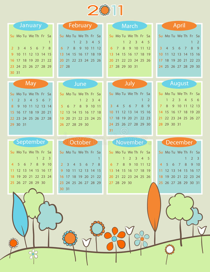 Calendar For 2011 - Retro Nature Stock Photography