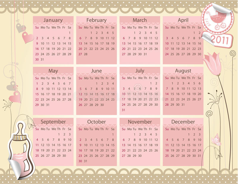 Download Calendar For 2011 Year - Baby Girl Theme Stock Photography - Image: 15862482