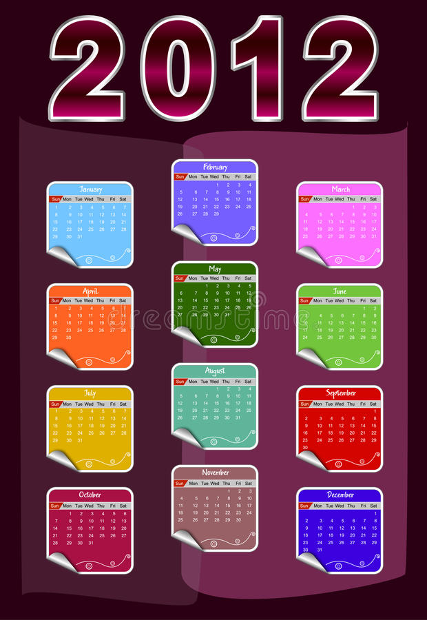 Download Calendar for 2012 stock vector. Image of background, date - 22049514