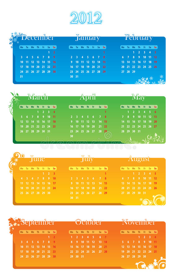 Calendar 2012. On the white background royalty free illustration