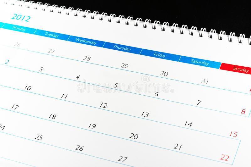 Calendar 2012 royalty free stock photography