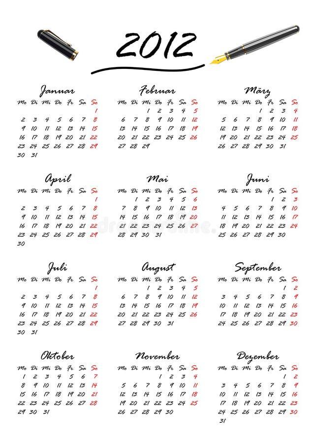 Download Calendar For 2012 In German (vector) Stock Vector - Illustration: 21012055