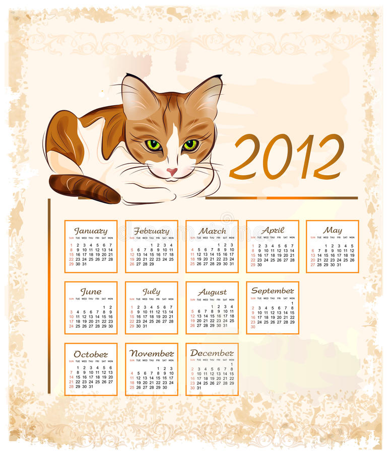 Download Calendar 2012  With Ginger Tabby Cat Stock Vector - Image: 21061358
