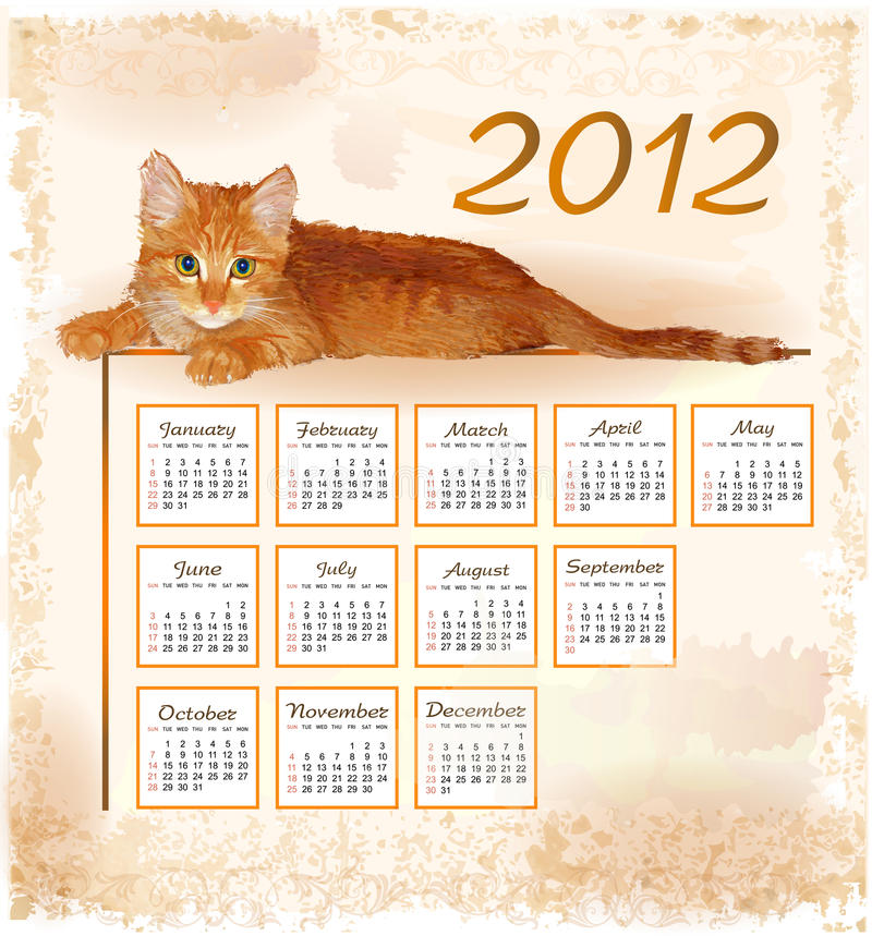 Download Calendar 2012 With Lying Ginger Kitten Stock Vector - Image: 21346585
