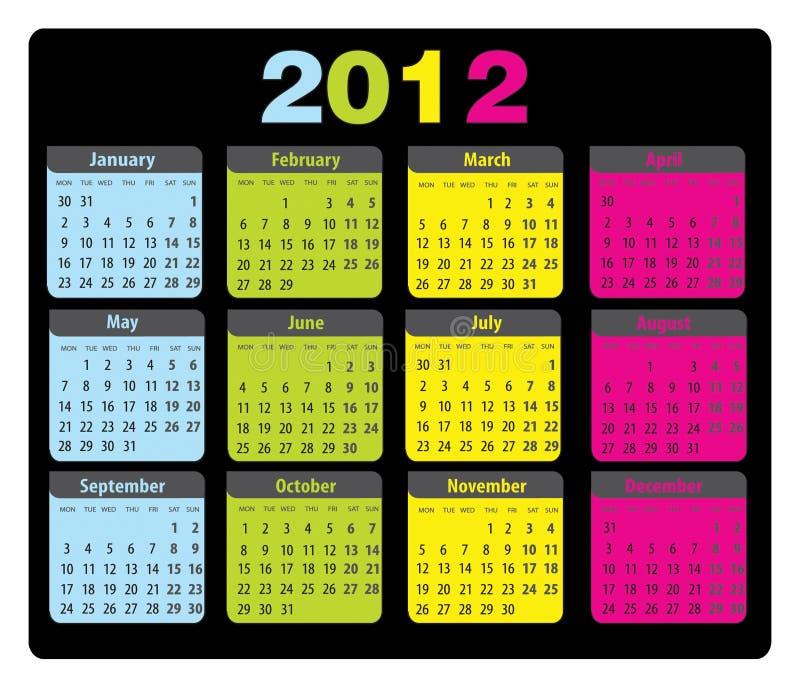 Download Calendar 2012 Monday-sunday Stock Vector - Image: 21948799