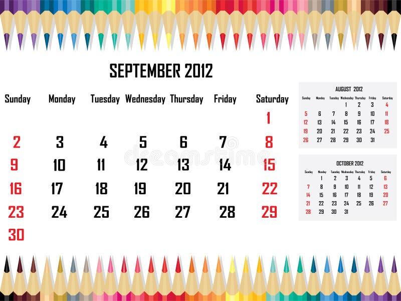 Download Calendar 2012 September stock illustration. Image of holiday - 21704969