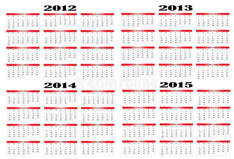 Download Calendar from 2012 to 2015 stock vector. Image of icon - 20907348