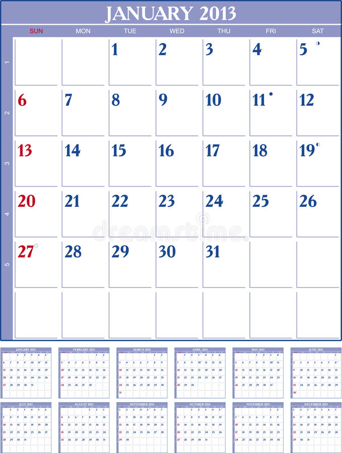 Calendar 2013 Royalty Free Stock Images
