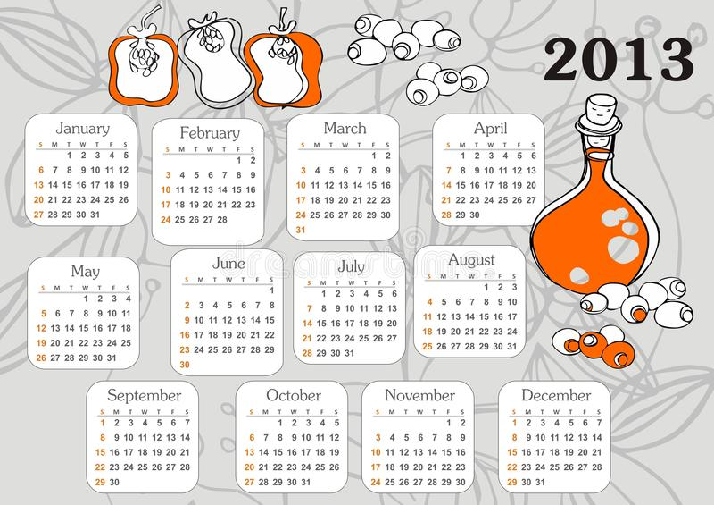 Calendar 2013 stock photography